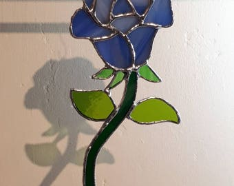 Stained glass rose suncatcher Red White Yellow Purple Blue Sun catcher Valentine Rose Nature gift Mothers day Love Friendship