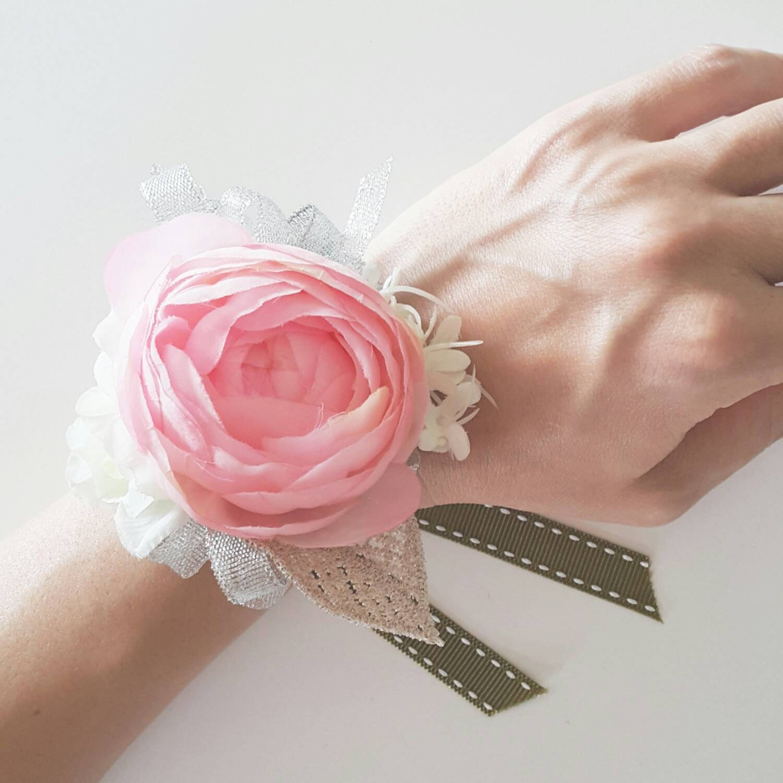 Pink Ranunculus Silk Flower Wrist Corsage Pink Wrist Flowers