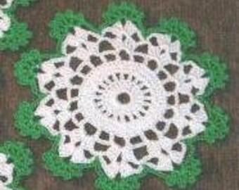 4 Crochet coaster mini doily Green White Star Pattern