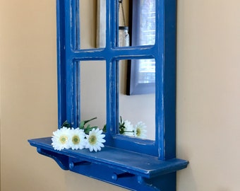 Blue Window Mirror, Blue Wall Mirror, Painted Mirror