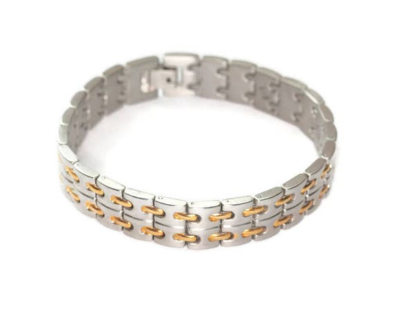 Industrial Chic Silver Tone Bracelet Gold Tone Accents Machine Age Larger Wrist Unisex