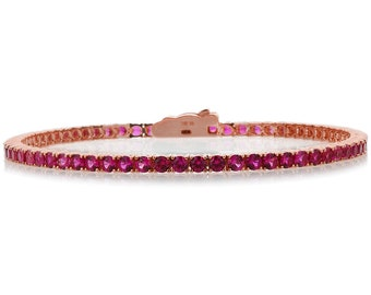 2.5mm Rose Gold Plated Silver 3.6 ct CZ Simulated Ruby Tennis Bracelet 7.25in(CSB013RD25RG-RB)