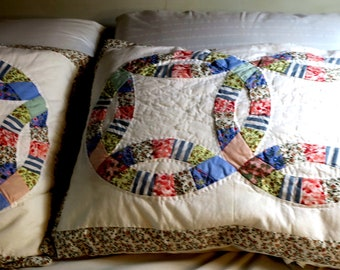 "Pr Patchwork Wedding Ring Pillow cases Handsewn Vintage  19 x 26"" ea 100% Cotton w Zippers"