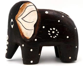 Vintage African wooden elephant African ELEPHANT Hand Carved Wood Elephant Wood Decor Elephant Lover's GIFT African Decor Vintage