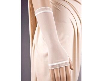 Wedding IVORY GLOVES Fingerless Modern Look,Wedding Gloves,Short Gloves,Ivory Wedding Gloves,Simple Wedding Gloves,Lace Wedding Gloves