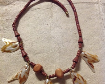 Wood And Sea Shells Necklace. Perfect For Both Male & Female!
