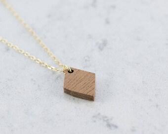 Diamond shaped necklace made of sapele wood