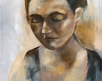 Portrait Painting Art Print, Woman Portrait, Acrylic Painting, 5 x 7 inches