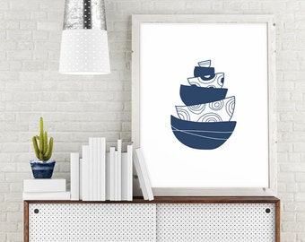 Navy Blue Kitchen Decor, Bowl Printable Kitchen Art, Navy Kitchen Printable  Art, Kitchen