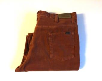 Vintage Men's 70's Rust, Corduroy Pants, Flare Leg by Sears Roebucks (W36)
