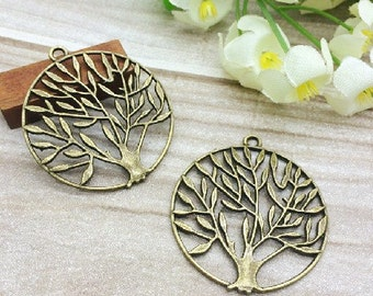 Wholesale 60pcs 38MM Antique Silver tone/Antque Bronze Lucky Tree of Life Connector Charms Findings