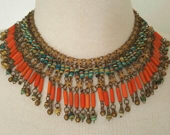 Antique Art Deco egyptian revival necklace
