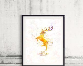 Game of thrones Baratheon Fine Art Print Glicee  Poster Watercolor Children's Illustration Wall - SKU 2783