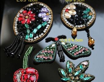 3-6pcs 4-12cm wide Rhinestones beads stones clothes dress appliques patch brooch F35C178L0412T free ship