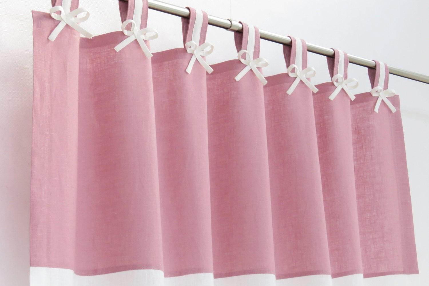 Pink and White Nursery Blackout Curtain I Tab Top Linen Panel
