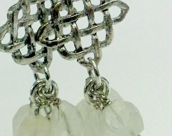 Rainbow Moonstone Cluster Earrings
