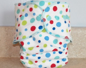 Fitted Large Cloth Diaper- 20 to 30 pounds-  Dots on White- 19019