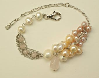 Blush Pearl Cluster Bracelet for the Bride, AAA Grade Ombre Blush Pearl Bracelet, Peach Pearl Wedding