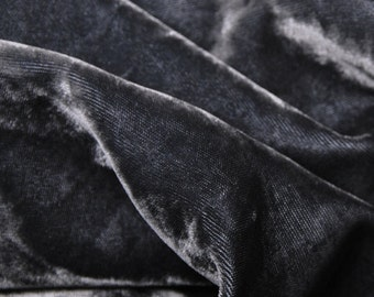 Charcoal Silky Velvet Pre Washed Rayon Woven Fabric by the Yard