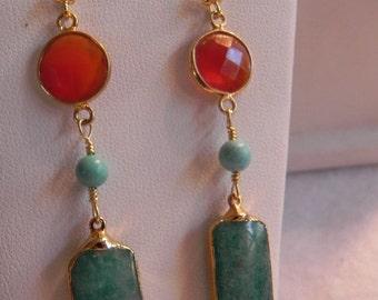 Turquoise and Carnelian Earrings, Gold Earrings, Green Turquoise and Carnelian Gold Drop Earrings (was 39.75)