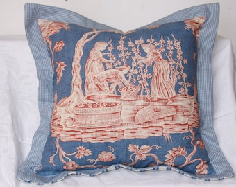 """18 x 18 Sky blue and soft red ,""""Wine Growers"""" toile"""