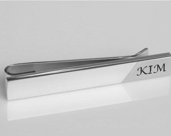 Personalized Tie Clip, Engraved Tie Clip, Custom Tie Clip, Silver Tie Bar, Groomsmen Gifts, Wedding Gifts, Gifts For Him, Buy 6 Get 7th Free