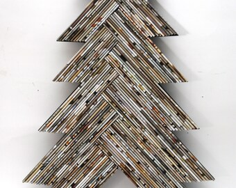 holiday TREE - light tan & white wall art - made from recycled magazines, Christmas, unique, home decor, interior design,, handmade