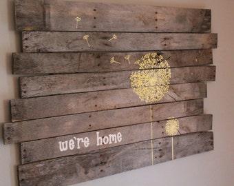 Home Sign, Dandelion Sign, Large Wooden Sign