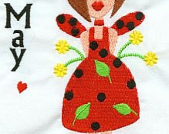 JJ Calendar Girl May - Instant DOWNLOAD - Machine Embroidery - 5x7 hoop AND 6x10 hoop