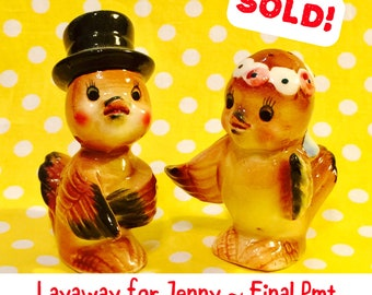 Layaway for Jenny - Norcrest Anthropomorphic Bride and Groom Wedding Love Birds Salt and Pepper Shakers made in Japan circa 1950s