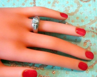 Vintage Silver and Crystal Baguettes Ring - Size 6.25 - R-108