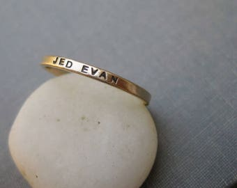14k Solid Gold Personalized Ring - Mother's Ring, Promise Ring, Graduation Ring, Wedding Ring, Stacking Ring