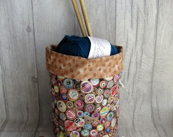 Cotton Reels Knitting Project Bag, Reels Crochet Bag, dice bag, fox sock project bag, wip bag, drawsting bag, crochet, weaving, embroidery,