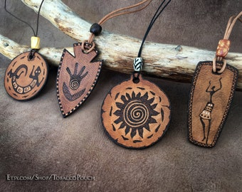Leather Necklace, African necklace,  leather pendant, peather pyrography, symbol pendants, Personalized boho necklace, indian necklace,