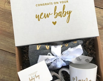 MOTHERS DAY GIFT / mom gift set / new baby gift box / new mom gift box / baby shoes / gold baby shoes / custom mom mug / mothers day box