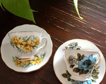 Set of Blue & Yellow Tea Cups and Saucers / Vintage China
