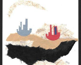 "collage paper cut ""sea"" 15 x 15 cm ref 17.05.10.3"
