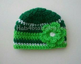 Baby Girl St. Patrick's Day Hat, Newborn St. Patricks Day Photo Prop, St. Patrick's Day, Crochet St. Patrick's Day Hat, Baby St. Patrick's