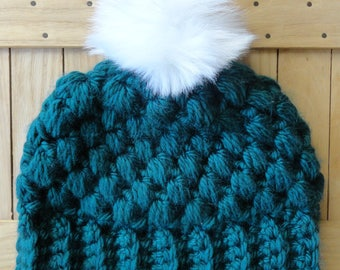 READY TO SHIP: Teal Chunky Puff Stitch Beanie with Removable White Faux Fur Pom Pom, Crochet Beanie with Fur Pom Pom, Fur Pom Crochet Beanie