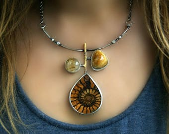 An Ancient Tree - Ammonite, Rutilated Quartz and Simbircite Sterling Silver Necklace