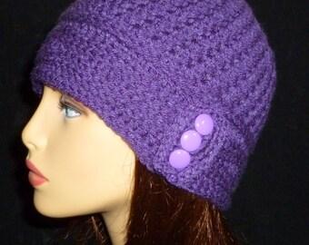 Crochet Beanie, Winter Hat, Crochet Hat, Womens Hat - in Dark Purple with Button Band