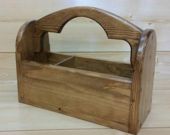 Carpenters Tool Box - Wooden Tool Caddy - Garden Caddy - Bar Caddy - BBQ Caddy - Condiment Caddy - Beer Caddy - Primitive Carrier