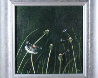 Wishes on the Wind, Dandelion Painting, Floral (2017) Framed Artword Ready to Hang, Original Art by UK Artist