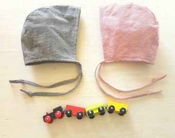 Baby Bonnet, Striped Bonnet, Baby Boy, Girl, Sun Bonnet, Summer Hat, Sun hat,  Railroad Stripes, Photo Prop, Shower Gift, Toddler Bonnet