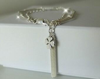 Lucky Four Leaf Clover Tassel Bracelet, Silver Bracelet with Four Leaf Clover Charm, Three Strand Silver Tassel Bracelet, Lucky Charms