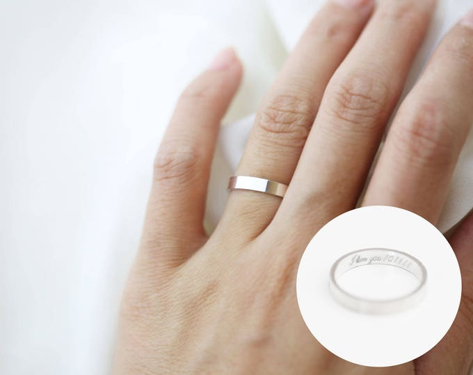 Secret message wedding band in Sterling Silver / Personalized Inside message ring / Inside engraved Ring Customizable Ring