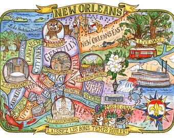 "Map of New Orleans Louisiana Art Print 16""x20"""