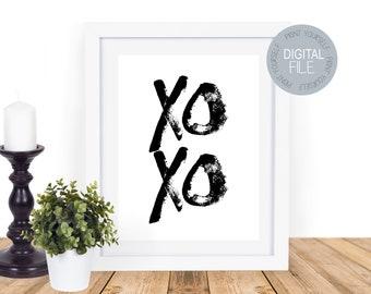 Xoxo -  Instant printable - modern image - Printable Gift - Gift