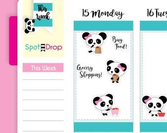 Panda Bear Grocery Shopping Stickers, Grocery Planner Stickers, Panda Planner Stickers // PB06
