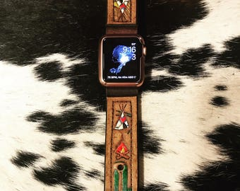 Vintage Swag Vintage Leather Hand tooled and Painted Apple Watchband